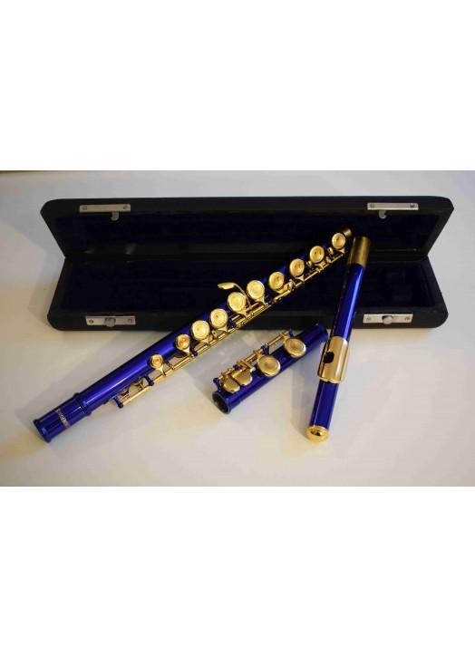 Flûte plateaux pleins Bleue et dorée